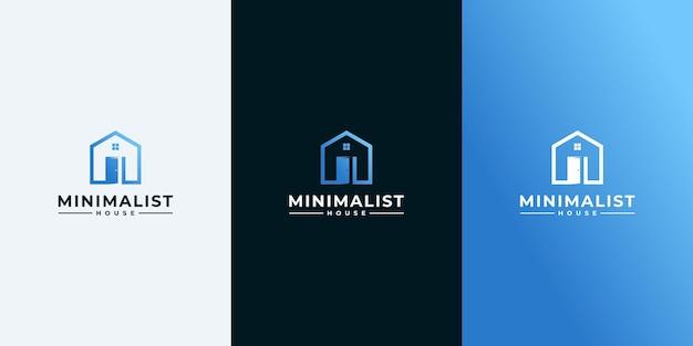 Proste logo domu ze stylem konturu i projektem wizytówki, domem, nieruchomościami, grafiką liniową, konspektem