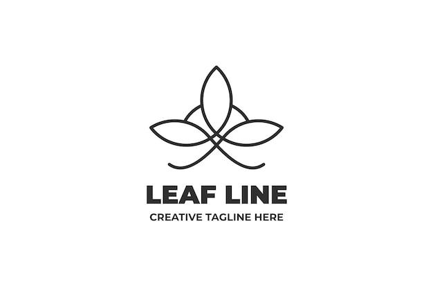 Proste logo firmy jednoliniowy liść