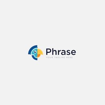 Proste logo frazą maskotki z ptakiem papugi