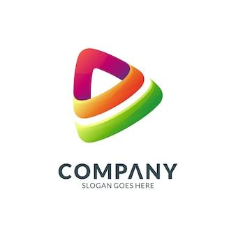 Proste logo gradientu odtwarzania mediów