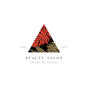 Proste logo. grawerowany logotyp. tropikalny salon kosmetyczny i organiczny symbol kosmetycznych. ilustracja.