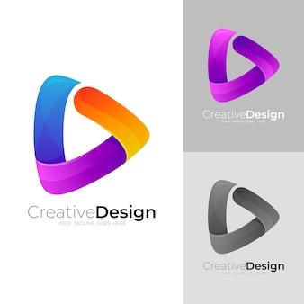 Proste logo gry z kolorową ikoną stylu