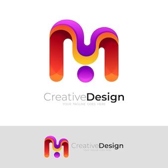 Proste logo litery m z kolorowym wzorem, ikona 3d