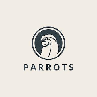Proste logo papugi w stylu vintage