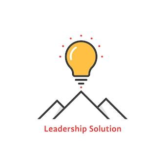 Proste logo rozwiązania lidera. koncepcja lampy, burza mózgów, turystyka, misja, strategia, promień, zwycięstwo, odprawa. płaski trend w stylu nowoczesnego przywództwa projekt logo wektor ilustracja na białym tle