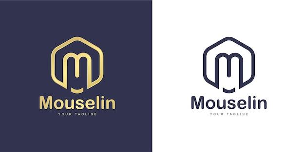 """Proste logo w kształcie litery m z koncepcją """"sześciokąta"""""""