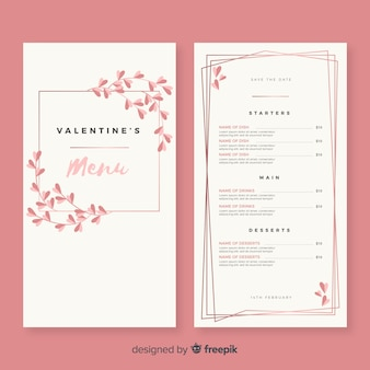 Proste menu szablon valentine menu