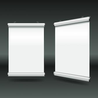 Proste minimalne białe banery zwijane