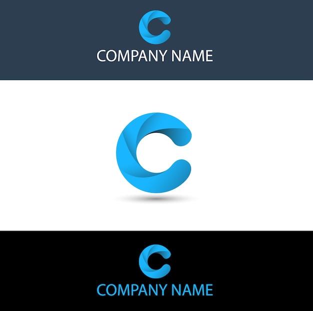 Proste niebieskie logo litery c.