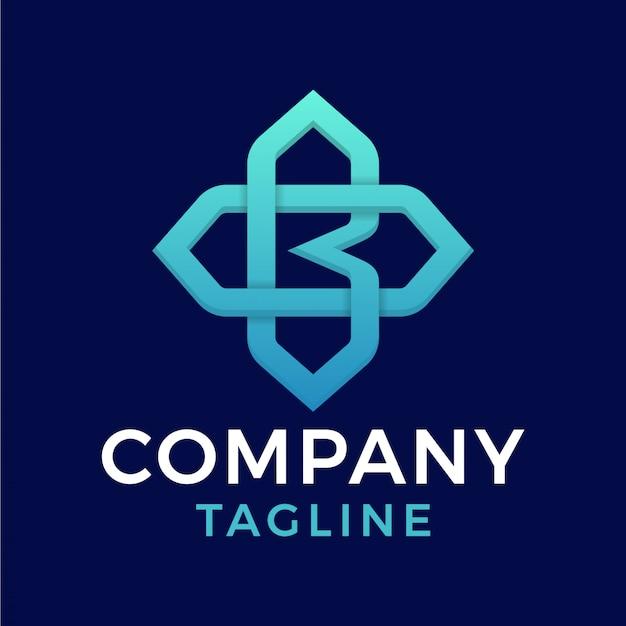 Proste nowoczesne eleganckie nowoczesne monoline litera bo niebieskie logo