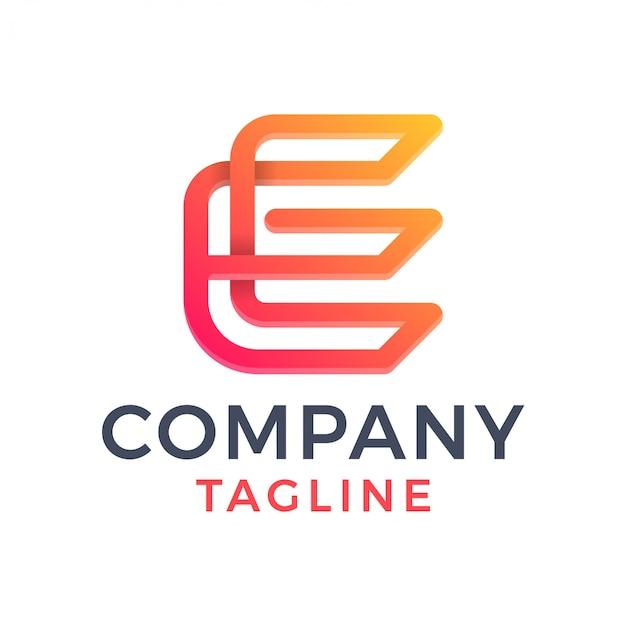 Proste nowoczesne monoline litera e 3d logo gradientu linii