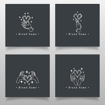 Proste occult ręczne logo z miłością diamentową edytowaną kolekcję wzorca