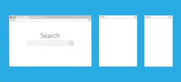 Proste okno przeglądarki internetowej na białym tle na niebieskim tle. przeglądarka internetowa pusty szablon laptopa, tabletu i telefonu.