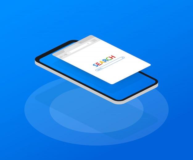 Proste okno przeglądarki na smartfonie. wyszukiwanie w przeglądarce przeglądarka internetowa w stylu płaskiej.