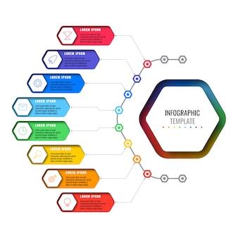 Proste opcje projektowania układu plansza szablon z ośmioma sześciokątnymi elementami. schemat procesu biznesowego