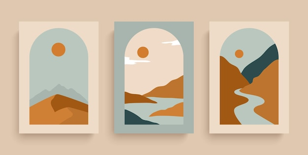 Proste plakaty wektorowe z rzekami, pustynnym słońcem i górami