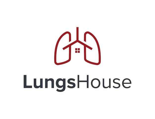 Proste płuca z domem w domu prosty elegancki geometryczny nowoczesny projekt logo