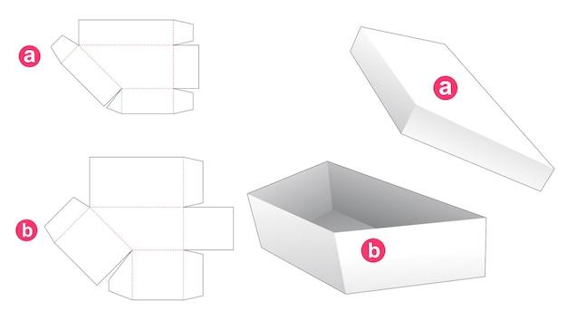 Proste pudełko w kształcie trapezu i wycięty szablon wieczka