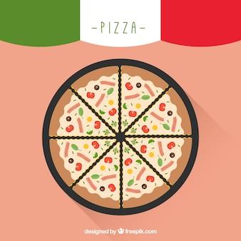 Proste tło pyszną pizzę