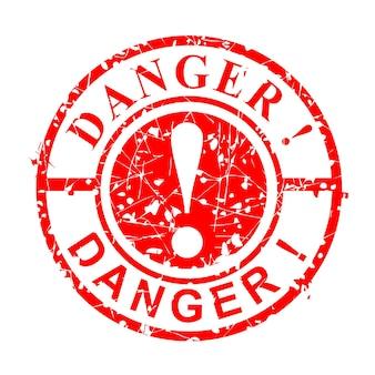Proste wektor grunge koło czerwona pieczątka, niebezpieczeństwo, na białym tle