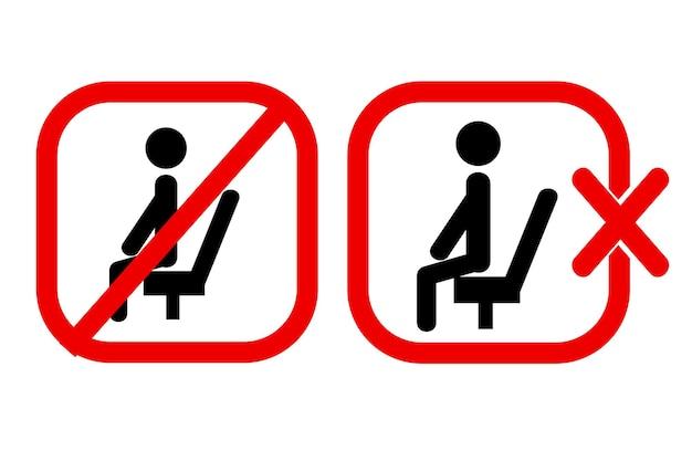 Proste wektor znak zakazu, nie siadaj tutaj, na białym tle