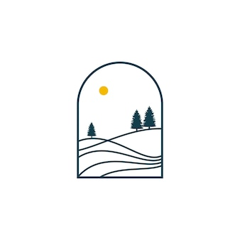 Proste wzgórze z ilustracją projektu logo krajobrazu sosny