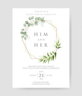Proste zaproszenie na ślub z geometryczną złotą ramą i dekoracyjnym wieńcem i wzorem ramy eukaliptusa.