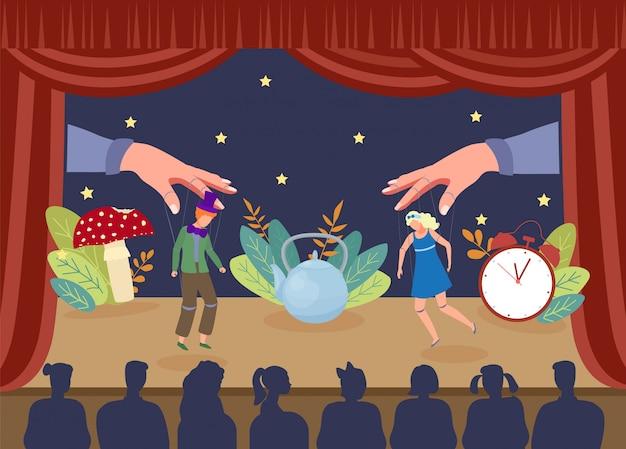Prostego teatru kukiełkowy przedstawienie, ilustracja. aktorzy marionetek na scenie, duże dłonie wyciągające nitki z kurtyny