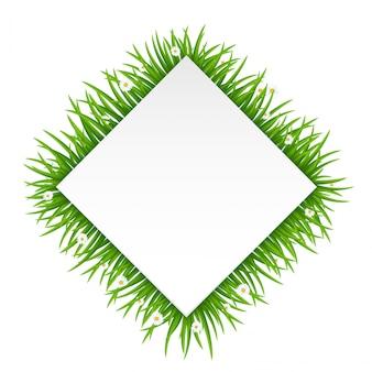 Prostokąt rama wykonana z trawy lub futra na białym tle