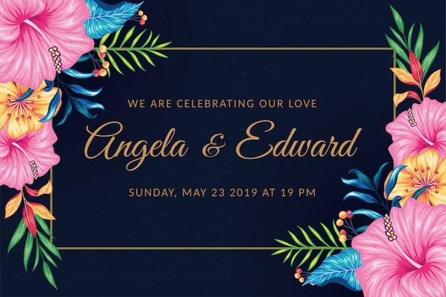 Prostokąt wesele kwiatowy zaproszenie na ślub