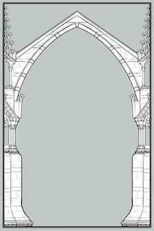 Prostokątna rama średniowiecznego stylu rękopisu. gotycki łuk ostrołukowy uformowany z latających przypór.