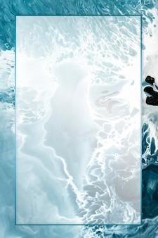 Prostokątna ramka na abstrakcyjnym niebieskim tle akwarela grunge