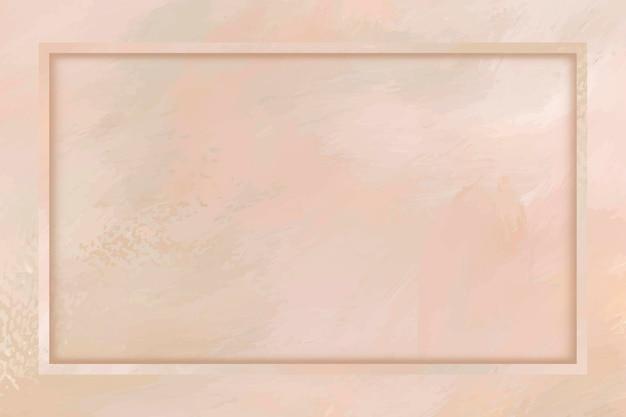 Prostokątna ramka na pastelowym pomarańczowym tle szablonu wektoru