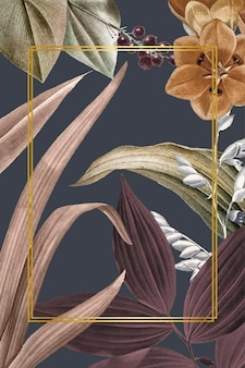 Prostokątna ramka na tropikalnym tle