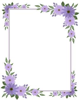 Prostokątna ramka z fioletowym obramowaniem kwiatu stokrotki
