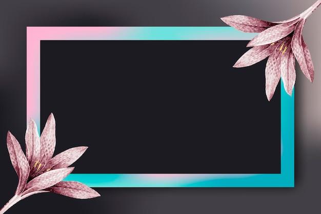 Prostokątna ramka z różowym wzorem amarylis