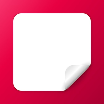 Prostokątna realistyczna biała papierowa naklejka z odklejanym rogiem