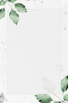 Prostokątna srebrna ramka z liśćmi na marmurowym tle tekstury wektoru