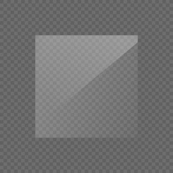 Prostokątna szklana płyta, lustro, okna. szklane talerze lub banery na przezroczystym tle. efekt świetlny do zdjęcia lub lustra