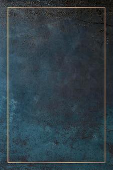 Prostokątna złota rama na grunge niebieskim tle wektora