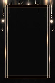 Prostokątna złota rama z błyszczącym wzorem na czarnym tle