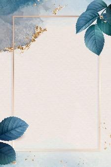 Prostokątna złota rama z tłem w kształcie liści