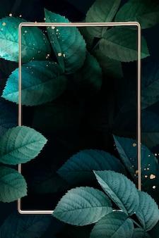 Prostokątna złota rama z wektorem tła wzór liści