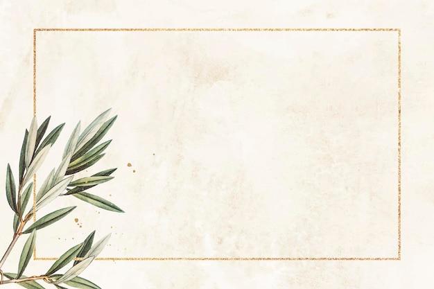 Prostokątna złota rama z wektorem wzoru gałązki oliwnej
