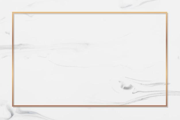 Prostokątna złota ramka na białym tle z marmuru wektor