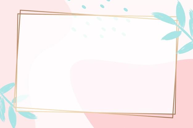 Prostokątna złota ramka na kolorowym tle memphis