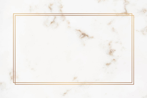 Prostokątna złota ramka na marmurze