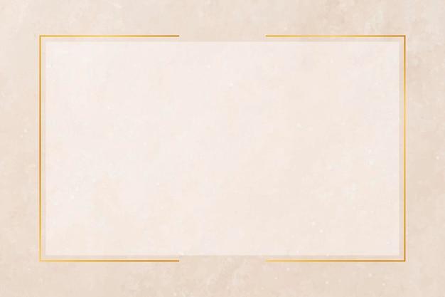 Prostokątna złota ramka na pastelowym pomarańczowym tle wektoru