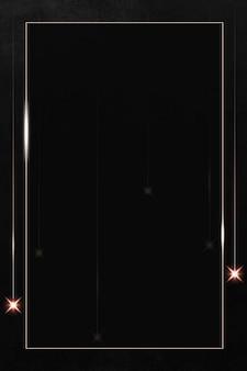 Prostokątna złota ramka z błyszczącym wzorem na czarnym tle