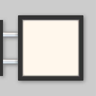 Prostokątne oznakowanie tablica świetlna szyld neon ikona czarna metalowa kawiarnia restauracja zewnętrzna makieta